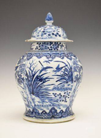 19th Century Chinese blue and white porcelain baluster jar and cover, the latter of domed form