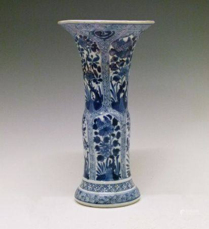 Chinese blue and white porcelain 'Gu' beaker vase, probably Kangxi (1662-1722), decorated with two