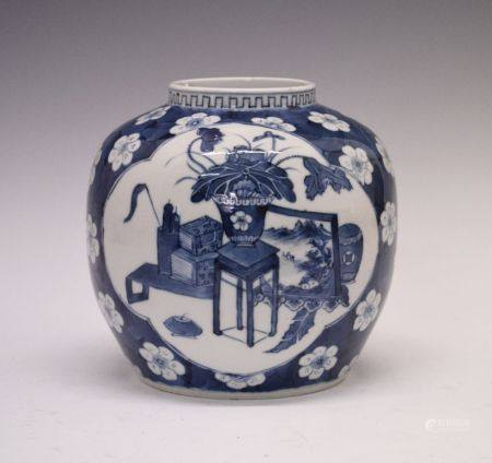 Chinese blue and white porcelain 'Prunus' ginger jar, of typical squat ovoid form decorated with two