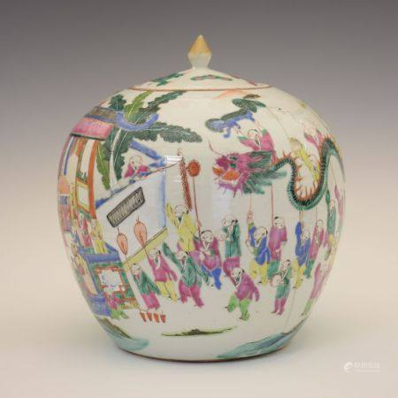 19th Century Chinese Canton Famille Rose porcelain jar and cover, of ovoid form decorated with