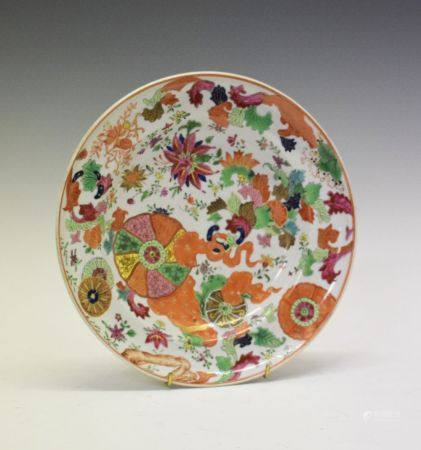 Chinese Canton Famille Rose porcelain plate, circa 1800, of dished circular form decorated with