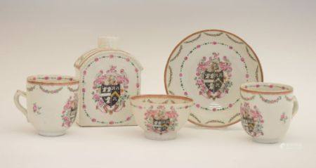 Five items of late 18th Century Chinese Export armorial porcelain, comprising a tea canister, two