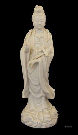 Chinese porcelain blanc-de-Chine figure of Guanyin or Kwan Yin, of Dehua type modelled with right