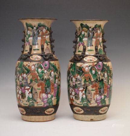 Pair of 19th Century Oriental Famille Rose crackleware vases, each of ovoid form with tall waisted