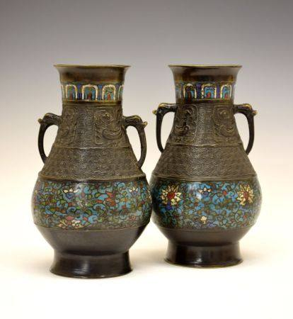 Pair of late 19th Century Chinese Archaistic-style bronze and cloisonné vases, each of bulbous