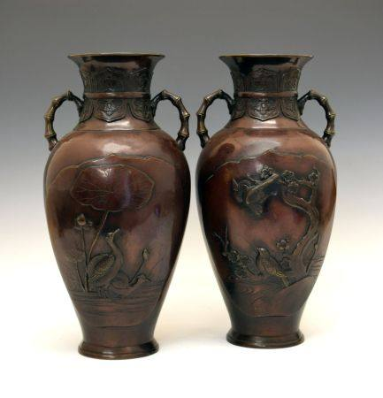 Large pair of late 19th or early 20th Century Japanese bronze vases, Late Meiji /Taisho, each of