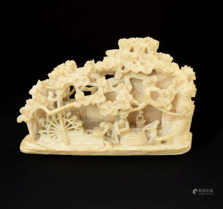 Japanese Meiji period carved ivory okimono, depicting figures outside a thatched mill cottage