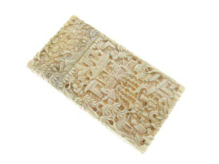 Small 19th Century Chinese Canton carved ivory visiting card case, decorated in typical fashion with