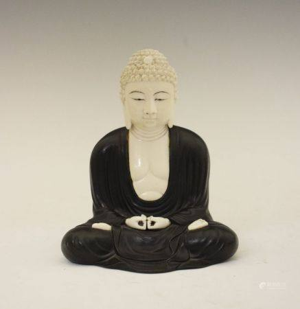 Early 20th Century Japanese bronze and ivory figure of the Buddha, late Meiji/Taisho, modelled in