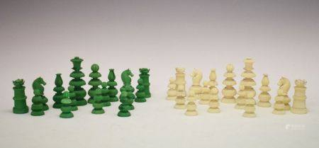 19th Century Anglo-Indian carved ivory chess set, St. George pattern, green-stained and natural,