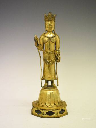 Chinese or Tibetan gilt bronze figure of a deity, probably Guanyin, believed 18th Century or