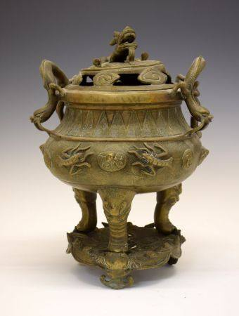 Large Chinese Archaistic-type polished bronze incense burner, cover and stand, bearing marks of