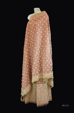 Indian Zardozi embroidered wedding skirt and dupatta, each with gilt wire lattice and flowerhead