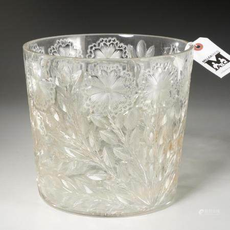 Nice antique wheel-cut floral colorless glass vase