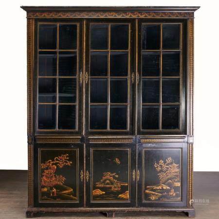 George III black Japanned bookcase cabinet
