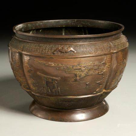 Chinese bronze footed lobed bowl