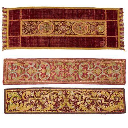 (3) Continental Baroque embroidered panels