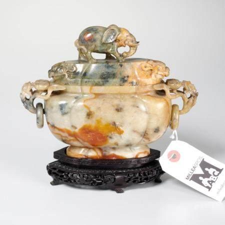 Chinese carved hardstone elephant urn