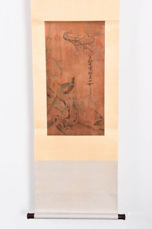 A CHINESE FLOWER&BIRDS PAINTING SCROLL