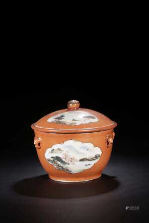 FAMILLE ROSE AND CORAL RED GROUND OPEN MEDALLION 'LANDSCAPE SCENERY' JAR WITH LID