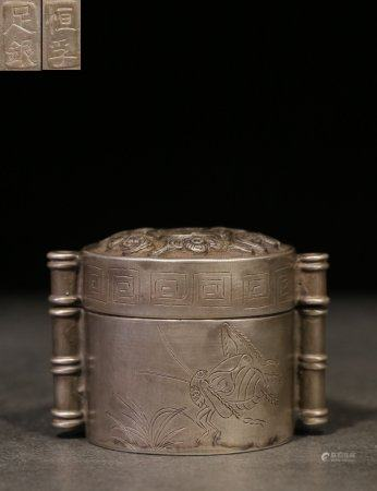 SILVER CAST AND CARVED 'BAT' ROUND BOX WITH COVER