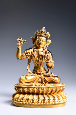 A CHINESE GILD COPPER DHARMAPALA STATUE