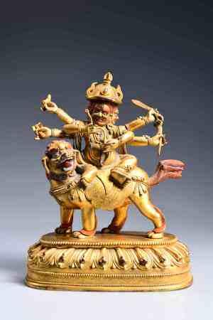 A CHINESE GILD COPPER BUDDHA STATUE