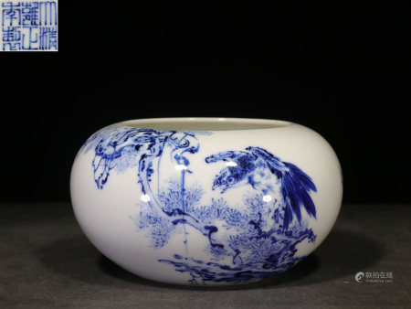 BLUE AND WHITE 'EAGLE AND PINE TREE' SPITTOON