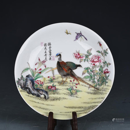 A CHINESE FAMILLE ROSE PAINTED PORCELAIN PLATE