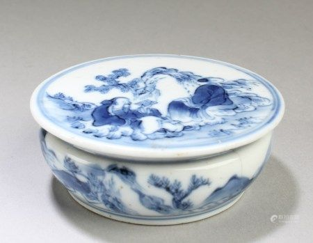 Chinese Blue & White Porcelain Seal Ink Paste Container