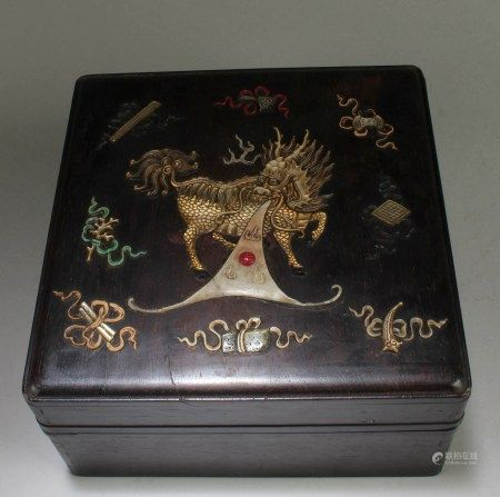 Chinese Hardwood Box with Mother Pearl Inlay