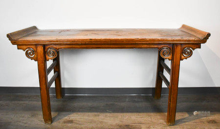 AN ELMWOOD ALTAR TABLE 17-18TH C