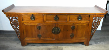 A CHINESE ELMWOOD ALTAR COFFER
