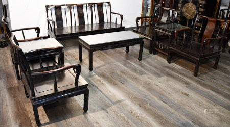 A SET OF EIGHT PIECES SUANZHI FURNITURE LATE QING