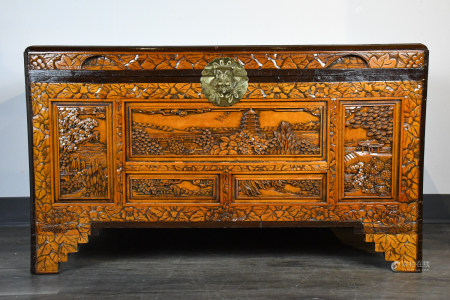 AN CARVED CAMPHORWOOD STORAGE CHEST 20TH C