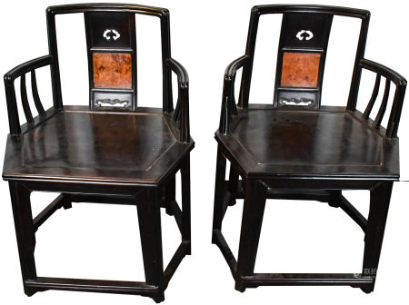 A PAIR OF ZITAN INSERT BURLWOOD ROSE CHAIRS REPUBL