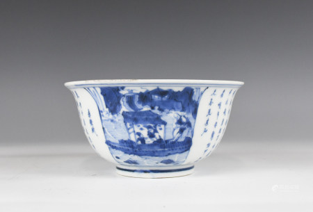 A BLUE AND WHITE POETRY BOWL KANGXI