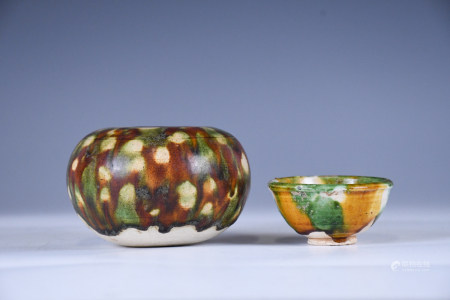 TWO SANSAI GONGXIAN WARE WATER POTS