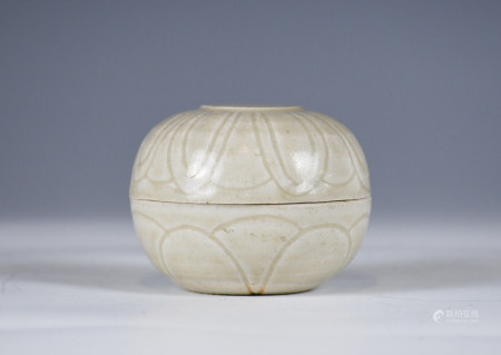 A CELADON GLAZED COVER BOX