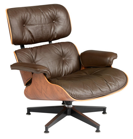 A rosewood and chocolate brown leather upholstered Eames lounge chair