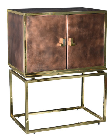 A vintage polished brass and copper bar cabinet