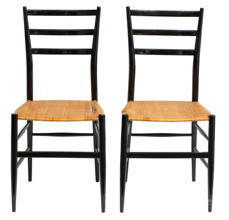 A pair of vintage black lacquered 'Superleggera' chairs