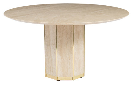 A brass and travertine round dining table