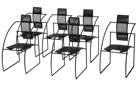 A set of six black lacquered Quinta chairs