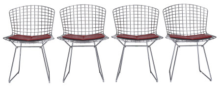 A set of 4 Bertoia side chairs
