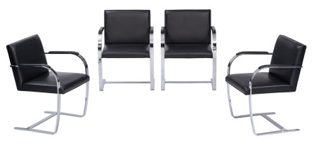 A set of four black leather upholstered Brno chairs