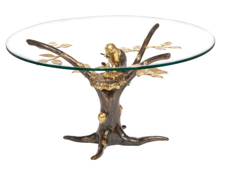 A vintage patinated and polished bronze design coffee table