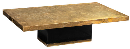 An etched brass coffee table