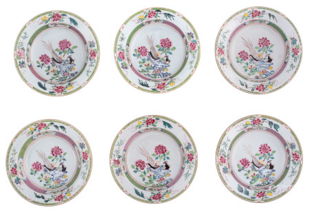 Six Chinese famille rose deep dishes