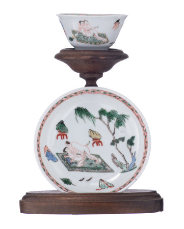 A Chinese famille verte cup and saucer